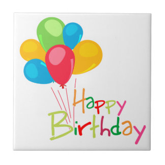 Balloons Happy Birthday Small Square Tile