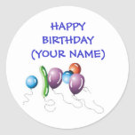 Balloons, HAPPY BIRTHDAY(YOUR NAME) Round Sticker