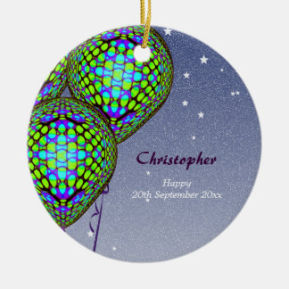 Balloons in Blue and Green Round Ceramic Decoration