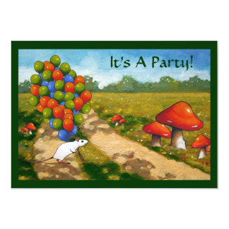 Balloons Mouse, Mushrooms: Bright Party Invite