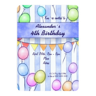 Balloons On Blue Stripes Birthday Card