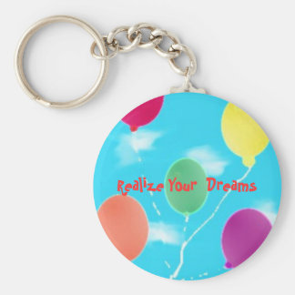 balloons, Realize Your  Dreams Basic Round Button Key Ring