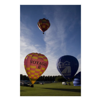 Balloons taking off poster