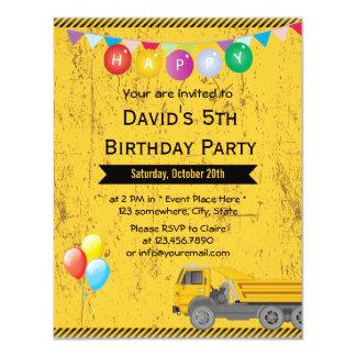 Balloons & Truck Construction Birthday Party 11 Cm X 14 Cm Invitation Card