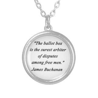 Ballot Box - James Buchanan Silver Plated Necklace
