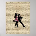 Ballroom dancers on vintage paper