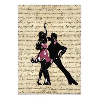 Ballroom dancers on vintage paper 9 cm x 13 cm invitation card