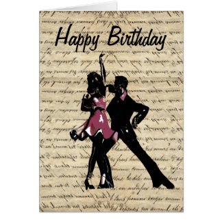 Ballroom dancers on vintage paper card