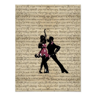 Ballroom dancers on vintage paper poster