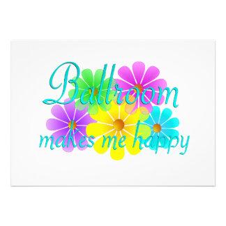 Ballroom Happiness Flowers Custom Invitation