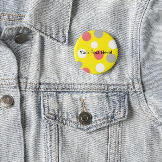 Balls Circles Pattern Grey White Coral Pink 6 Cm Round Badge
