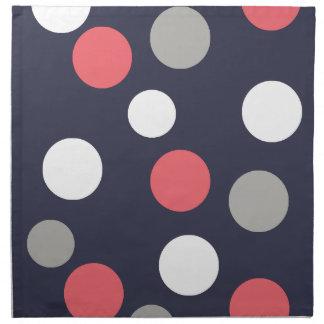 Balls Circles Pattern Grey White Coral Pink Napkin
