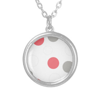 Balls Circles Pattern Grey White Coral Pink Silver Plated Necklace