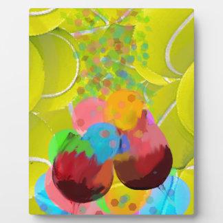 Balls glasses balloons. plaque