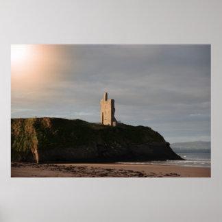 ballybunion beach castle and cliffs poster
