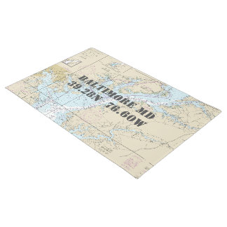 Baltimore Chesapeake Latitude Longitude Nautical Doormat
