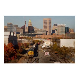 Baltimore City with Train Poster