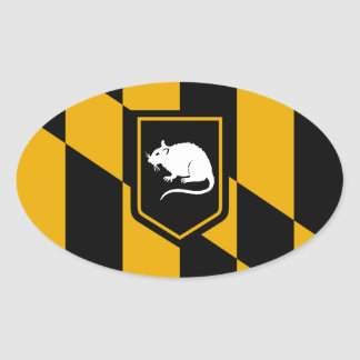 Baltimore Flag Rat Oval Sticker