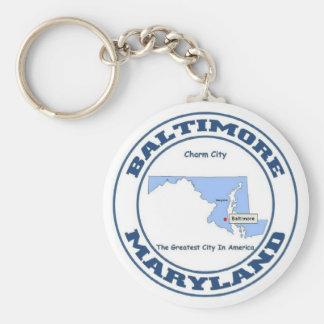 Baltimore, Maryland Basic Round Button Key Ring