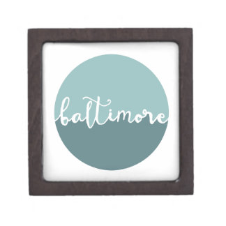 Baltimore, Maryland | Blue Ombre Circle Premium Keepsake Box
