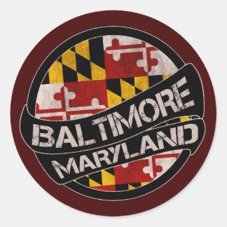 Baltimore Maryland flag grunge stickers