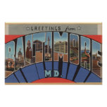 Baltimore, Maryland - Large Letter Scenes 3 Print