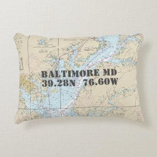 Baltimore Maryland Nautical Chart Decorative Cushion