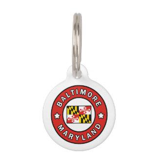 Baltimore Maryland Pet Name Tag