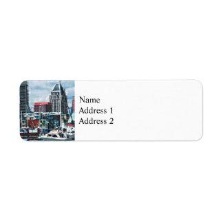 Baltimore MD - Baltimore Skyline at Charles River Return Address Label