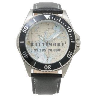Baltimore MD Latitude Longitude Boater's Nautical Watch