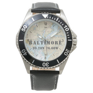 Baltimore MD Latitude Longitude Boater's Nautical Wrist Watches