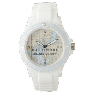 Baltimore MD Latitude Longitude Nautical Boater's Wristwatch