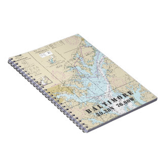 Baltimore MD Latitude Longitude Nautical Chart Notebooks