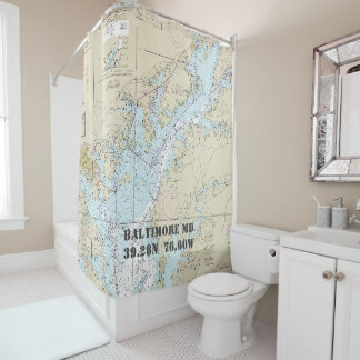 Baltimore MD Latitude Longitude Nautical Chart Shower Curtain