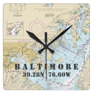 Baltimore MD Latitude Longitude Nautical Chart Wall Clock