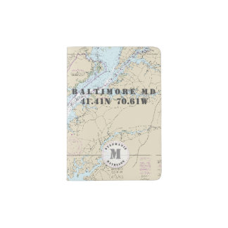 Baltimore MD Monogram Nautical Chart Passport Holder