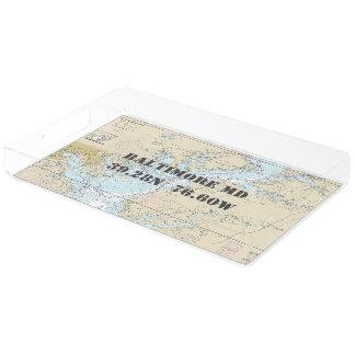 Baltimore MD  Nautical Chart Latitude Longitude Acrylic Tray
