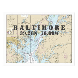 Baltimore MD Nautical Chart Latitude Longitude Postcard