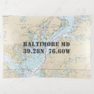 Baltimore MD Nautical Chart Latitude Longitude Trinket Trays