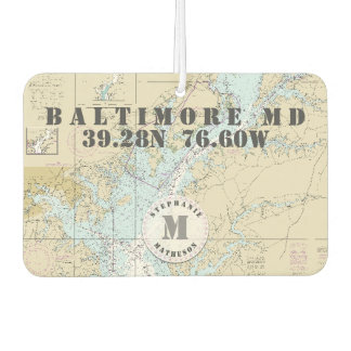 Baltimore MD Nautical Chart Monogram Boating