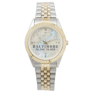 Baltimore MD Nautical Latitude Longitude Boater's Wrist Watches