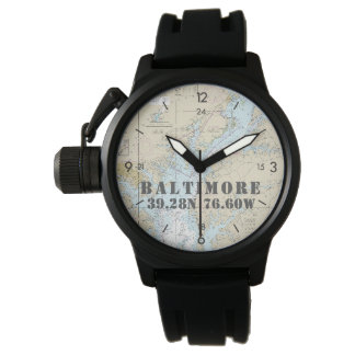 Baltimore MD Nautical Latitude Longitude Boater's Wristwatch