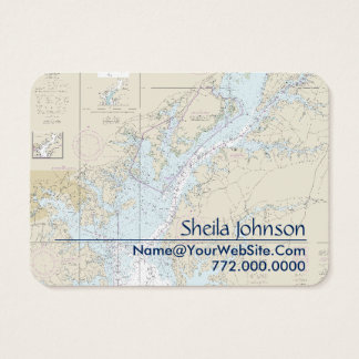 Baltimore Nautical Chart Clean Fresh Blue Tan Business Card