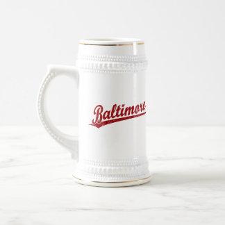 Baltimore script logo in red beer steins