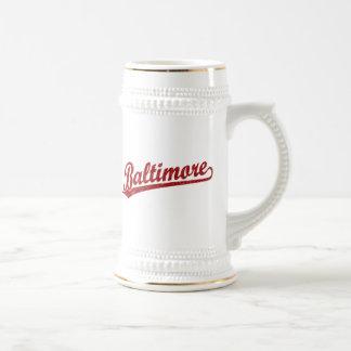 Baltimore script logo in red mugs