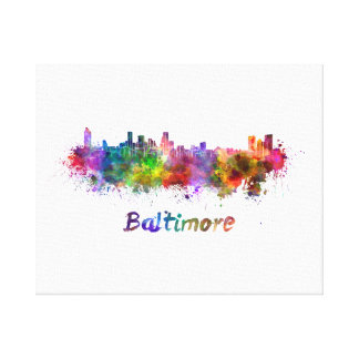 Baltimore skyline in watercolor canvas print