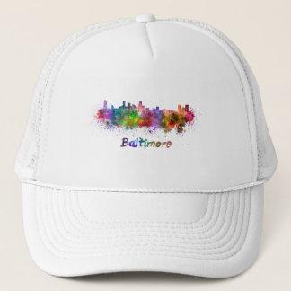 Baltimore skyline in watercolor trucker hat