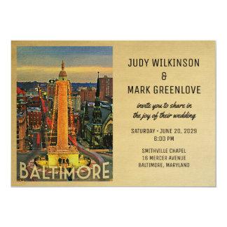 Baltimore Wedding Invitation Vintage Mid-Century