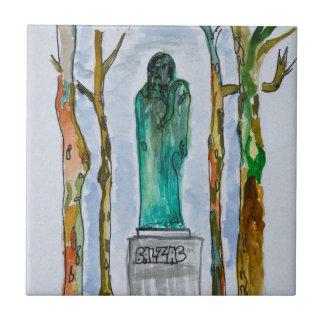 Balzac Statue by Rodin   Paris, France Tile