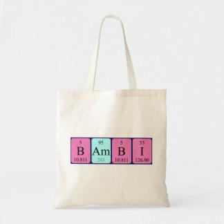 Bambi periodic table name tote bag